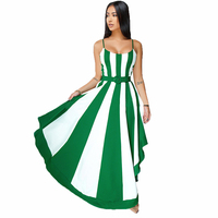 537a88d5bb737 2019 Fashion Europe Sexy Summer Women Dress Elegant Stitching Stripes Big  Swing Dress Beautiful Casual Asymmetrical