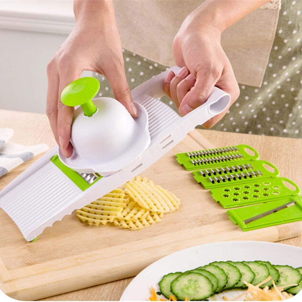 7 in 1 Plastic Vegetable Fruit Slicers Cutter Adjustable Stainless Steel Blades Multi-function ABS Peeler Grater Slicer K40