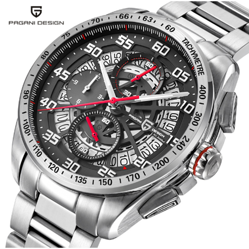 PAGANI design quartz leather skeleton waterproof watch luxury brand sports time men 39 s watch Multifunction Stainless Steel Watch in Quartz Watches from Watches