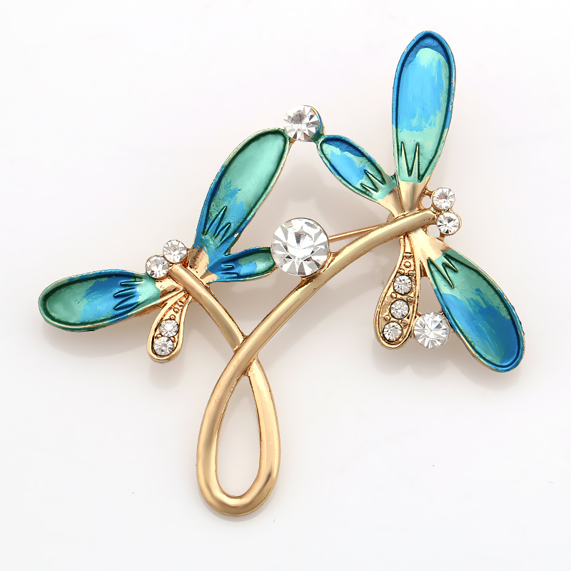 Factory Direct Sale Double Dragonfly Animal Brooches encrusted with blue painting and diamante for Women
