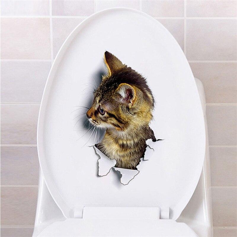 Cats Dog 3D Wall Sticker Bathroom Toilet Living Room Kitchen Decoration Animal Vinyl Art Sticker Poster 29