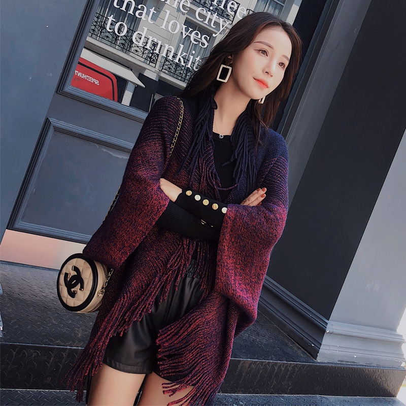 Luxury Brand Women Knitted Shawl Poncho Cashmere Winter Scarf Ponchos And Capes Shawl Fringed Shawl  Winter Keep Warm Scarves 56