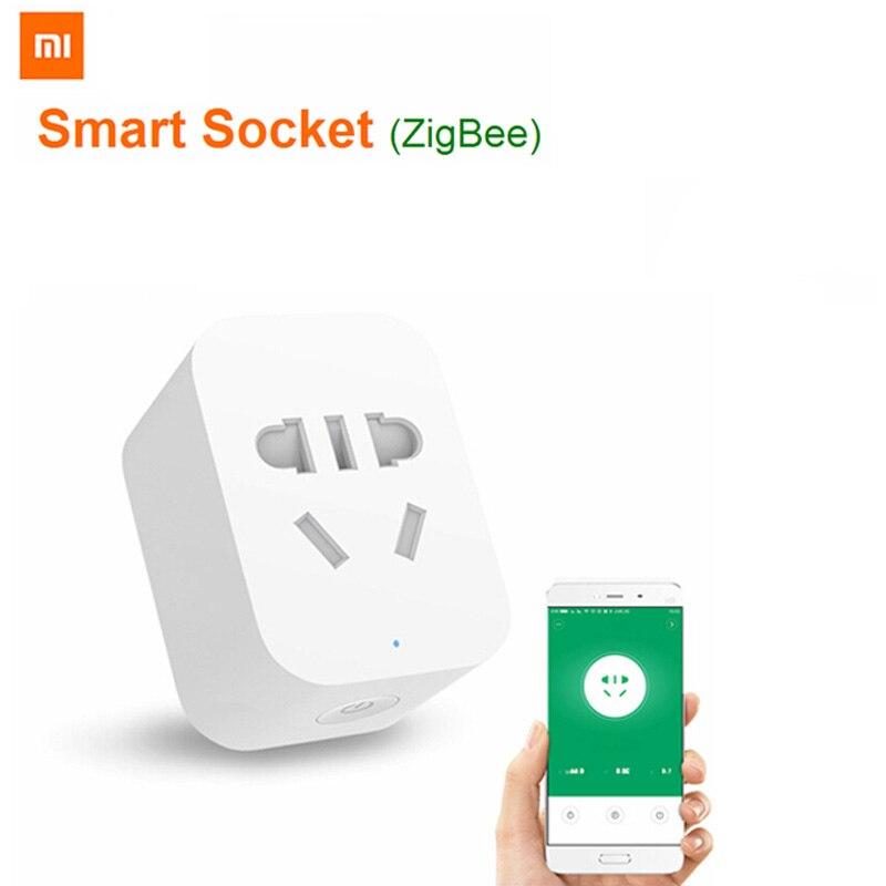 Xiao mi mi jia original zigbee app tomada de controle inteligente wi fi interruptores de controle temporizador plug para android ios para mi casa app