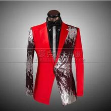 Novelty red Sequins Studio performances 2016 male men's jacket slim fit blazers man casual masculino blazer men suit coat xxl