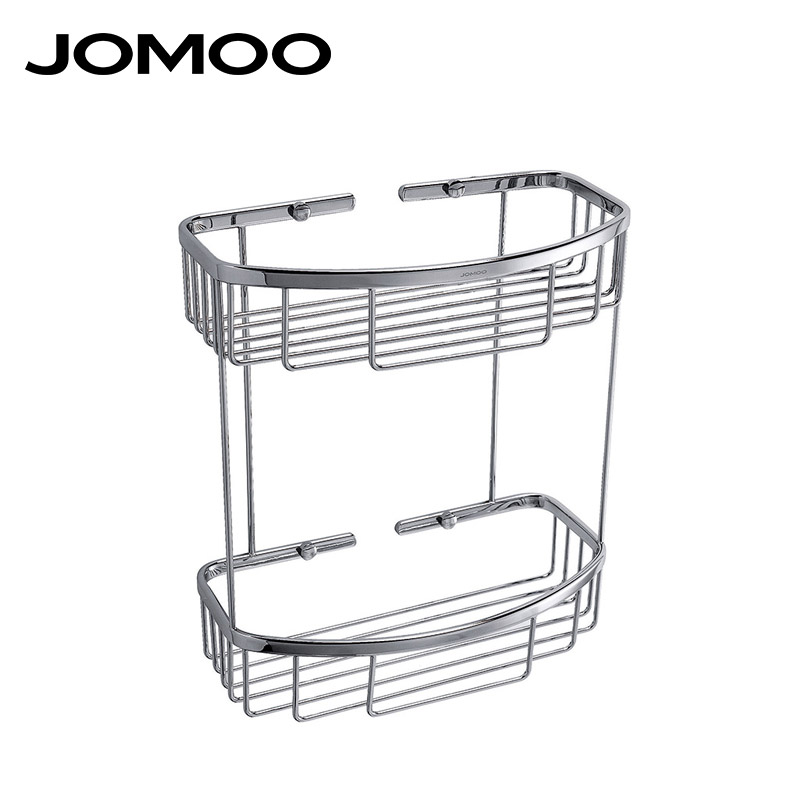 JOMOO Brass Chrome bathroom corner shelf basket Bathroom Shelves wall mounted Shower Shampoo Soap Cosmetic Bathroom Accessories black bathroom shelves stainless steel 2 tier square shelf shower caddy storage shampoo basket kitchen corner shampoo holder
