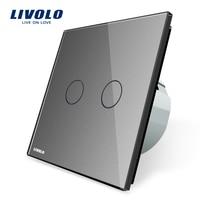 Livolo Grey Crystal Glass Switch Panel EU Standard Wall Switch AC 220 250V VL C702 15