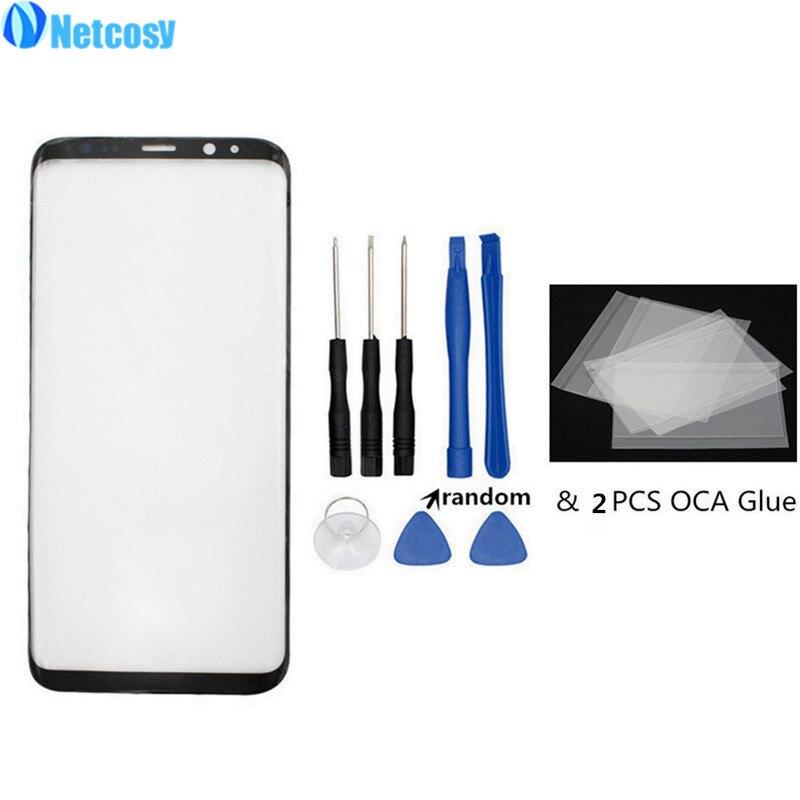 Netcosy S8 S8 Plus Avant Extérieure En Verre Lens Cover Pour Samsung Galaxy S8 S9 S9plus Note9 LCD en verre et 2 PCS OCA Colle Adhésif & Outils