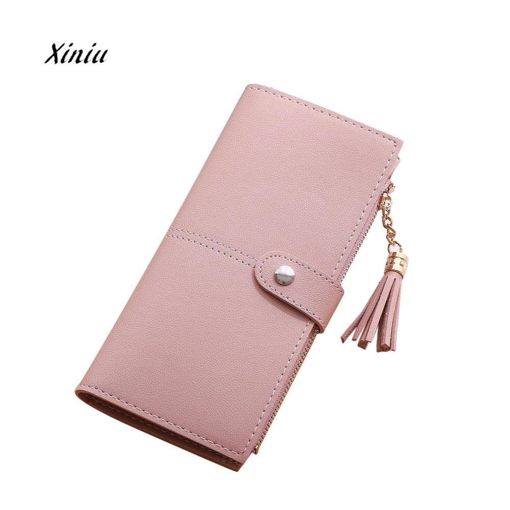 Women Simple Long Wallet Korea Style Fashion Tassel Coin Purse Hasp Card Holders Handbag Female PU Zipper Clunth Bags Wallet