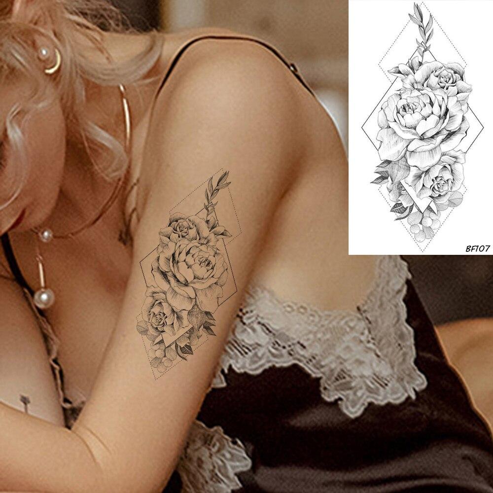 VANKIRS Preto À Prova D Água Sensuais Subiu Flor Tatuagens Temporárias Para As Mulheres Menina Braço Tatoos Papel Adesivo Tatoo Falso Preto Flora Capa