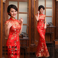 Evening Party Dresses 2015 Long Chinese Traditional Dresses Cheongsam Dresses Qipao Red Paillette Lace Fish Tail Sleeveless