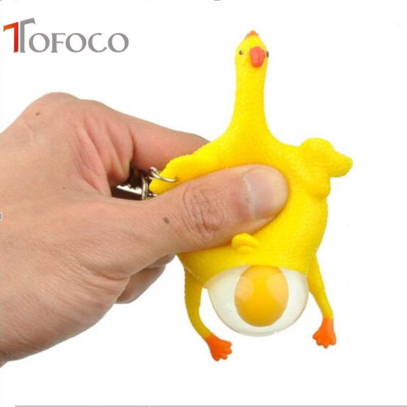 TOFOCO Squeeze toy Chicken Laying Egg Sticky Venting Prank Mischievous Spoofing Mood Squeeze Relief Gift keychain