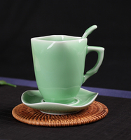 Exquisite Interesting Chinese Classical Green Glaze Porcelain Small Coffee Cup with Spoon and Plate