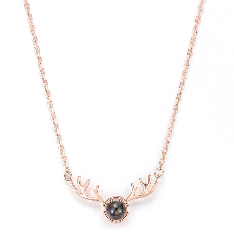 New Fashion Female Antler Necklace Clavicle Chain Metal Simple Animal Elk Pendant Jewelry Small Cute