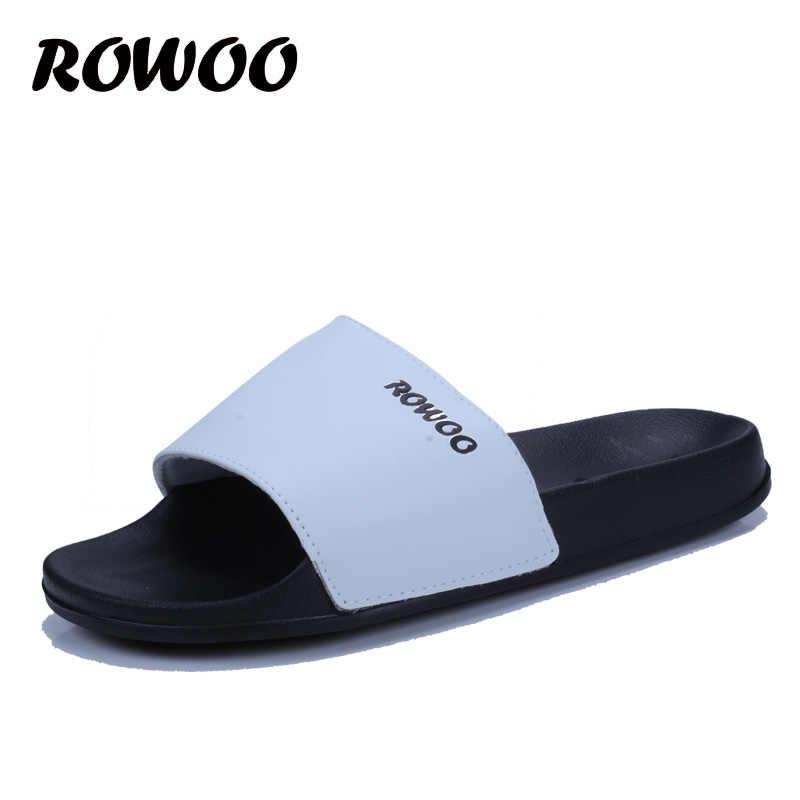 052b83f8 ... Men Beach Slide Slippers Black White Platform Flip Flops mens slides  Casual Summer Slip-on ...