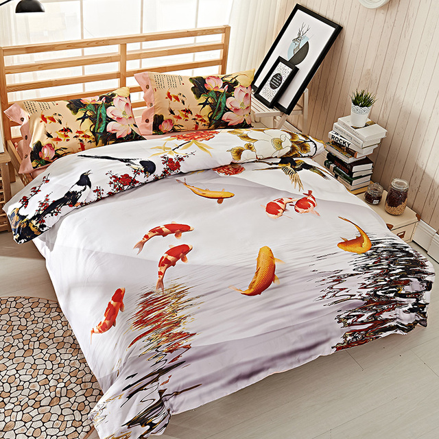 Chinese Characters Lotus Plum Flower 3D Fish Bedding Set Queen Size Duvet  Cover Bedsheets Pillowcase Pure