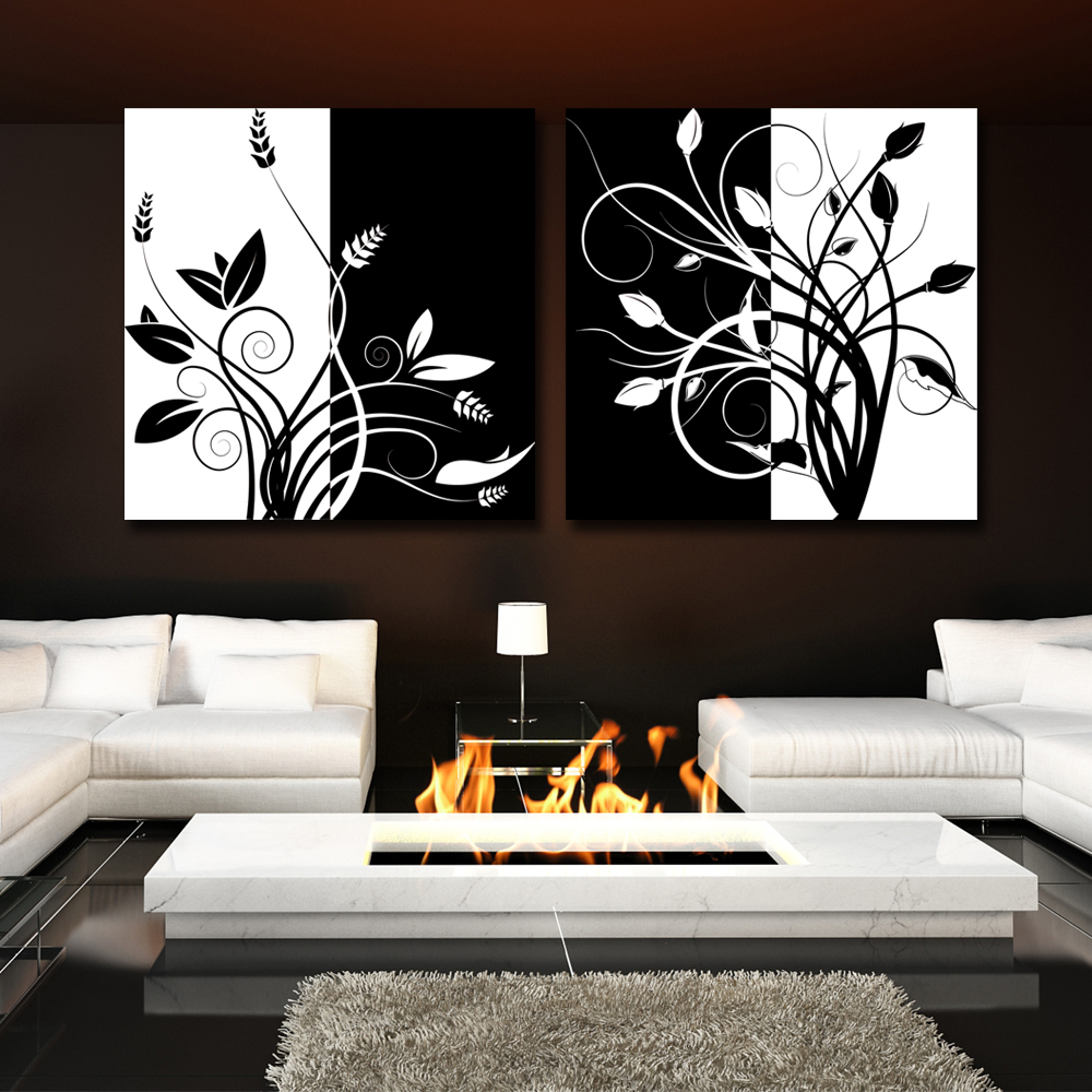 2 Piece Abstract Black And White Tree Home Decor Modern