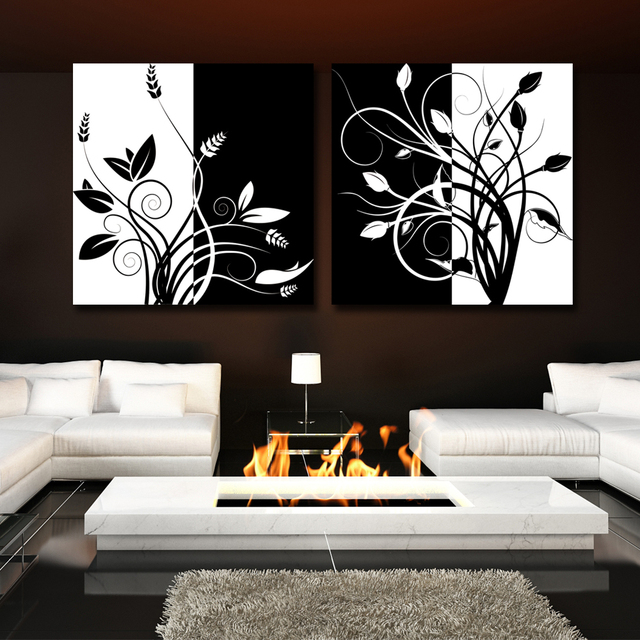 2 piece abstract black and white tree home decor modern canvas wall art oil painting picture