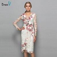 Dressv V Neck Long Sleeves Cocktail Dress Sheath Appliques Lace Knee Length Flowers Elegant Cocktail Dress