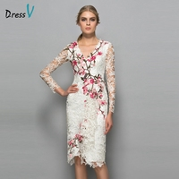 Dressv V Neck Long Sleeves Cocktail Dress Sheath Appliques Lace Knee Length Flowers Elegant Cocktail Dress