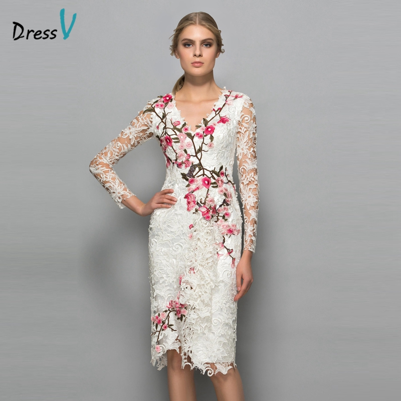 Dressv V neck long sleeves cocktail dress sheath appliques lace knee length flowers elegant