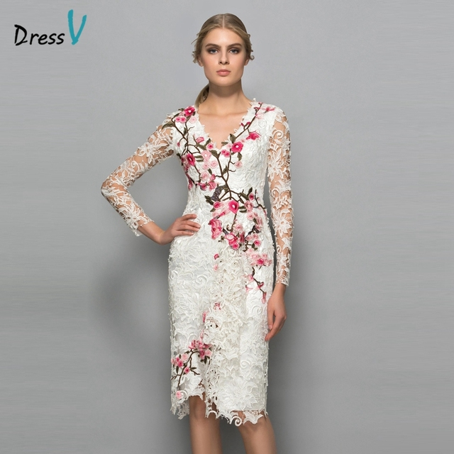 Dressv V neck long sleeves cocktail dress sheath appliques lace knee ...