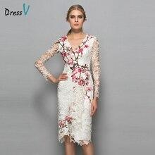 Dressv V-образным Вырезом длинные рукава платье для коктейля оболочка аппликации кружева длиной до колена цветы элегантный платье для коктейля вечернее платье