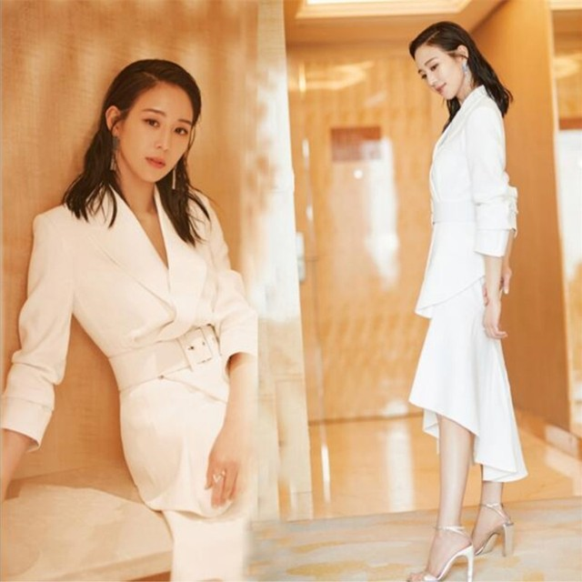 Zhang Junning Star with The Same Temperament White Suit Women Professional Skirt In The Long Two-piece Set Fashion Sexy White