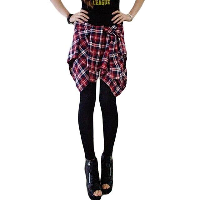 Korean Fashion Plaid Shirt Culottes Skirt Leggings Women Cotton Leggings Fake Two-Piece Leisure Leggings calzas leggins BG154