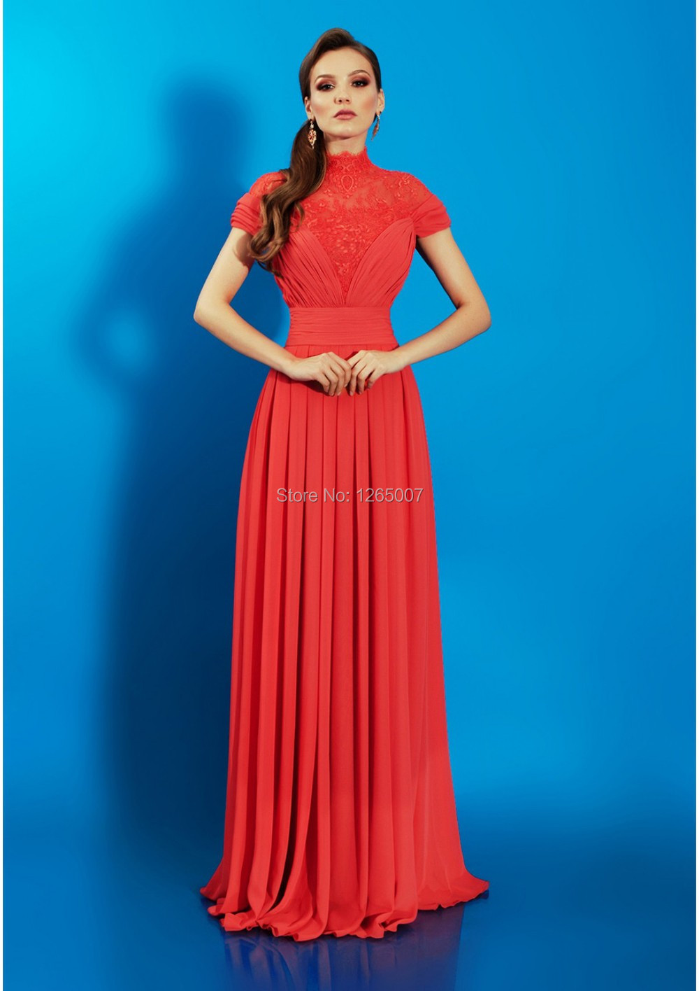 High Neck Short Sleeve Long Formal Dresses