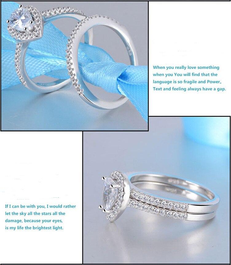 2pcs Silver Rings Set Jewelry Teardrop Zircon Cz Diamant Engagement