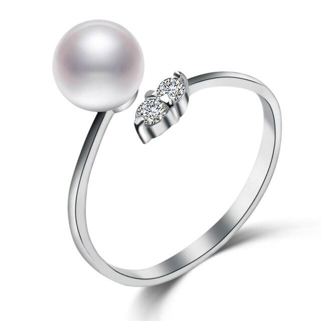 ФЕЙГЕ 925 Стерлингового Серебра с Драгоценными Камнями Кольца 7-8 мм Плоские Круглые Белый Естественный Пресноводный Жемчуг Кольца для Женщин Fine Jewelry