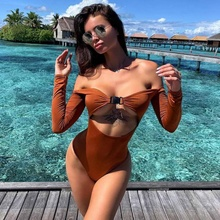 2019 eBay Hollow Out One Piece One Word Collar Solid Color Buckle Sexy Women Swimsuit delicate solid color hollow out leaf bracelet for women