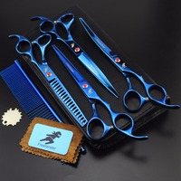 7 inch blue pet scissors hairdressing set 4 piece set combination bending scissors thinning special scissors Japanese hairdressi