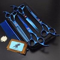 7 inch blue pet scissors hairdressing set 4 piece set combination bending scissors thinning special scissors Japanese hairdressi