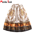 2016 Summer Autumn Pleated Skirt Women Fashion Retro Vintage Pattern Print Skater Mid-Calf Length High Waist Tutu Skirt Saia