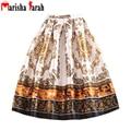 2016 Summer Autumn Pleated Skirt Women Fashion Retro Vintage Pattern Print Skater Mid-Calf Length High Waist Tutu Skirt Saia
