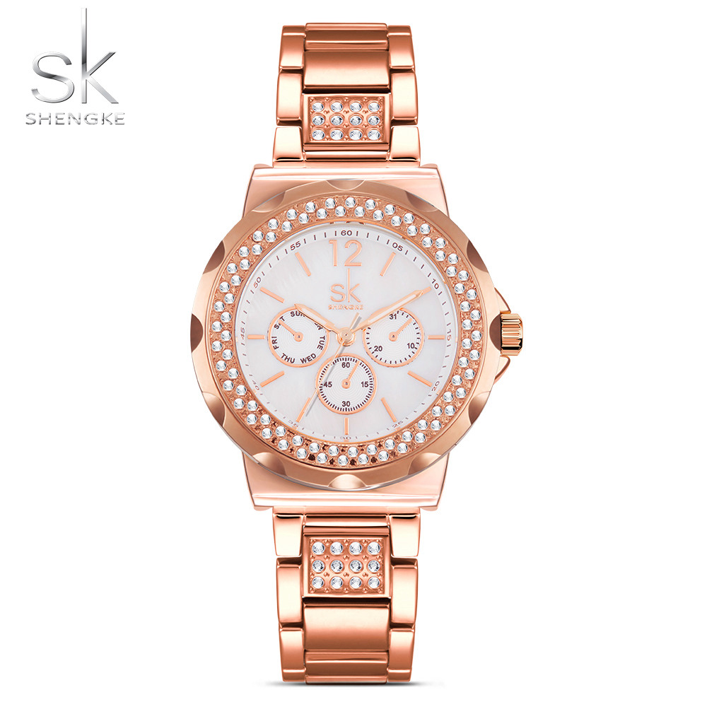 SK Fashion Women s Bracelet Watches Rhinestones Case Shell Surface Ladies Clock Rose Gold Stainless Steel