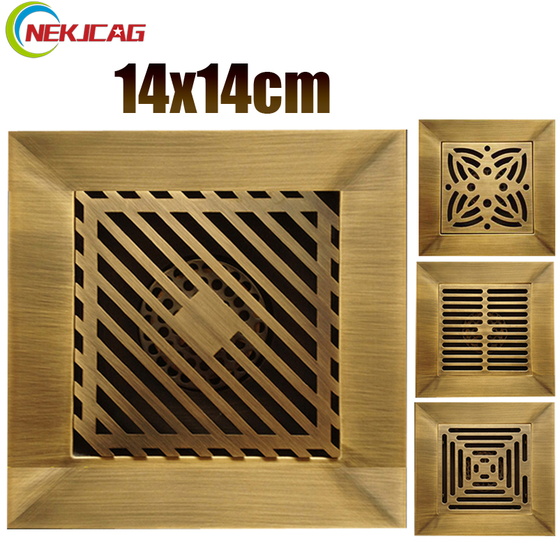 New Design 14cm Square Bathroom Floor Drain Antique Brass 5.5 inch Shower Waste Drain Art Carved Flower Free Shipping free shipping antique brass 12cm decorative floor waste drainer square flower carved shower drain waste grate cover