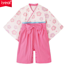 IYEAL Baby Girls Cotton Print Japanese Kimono Cute Girls Rompers Infant Bebes Long Sleeve Coveralls Kids