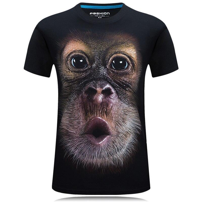 2018 verão roupas de marca dos homens O-pescoço manga curta T-shirt animal do macaco/leão 3D Digital Impresso camiseta Homme grande tamanho 5xl