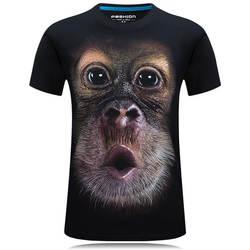 2018 Летняя мужская брендовая одежда с круглым вырезом, с коротким рукавом, с изображением животных, футболка с принтом обезьяны/льва, 3D