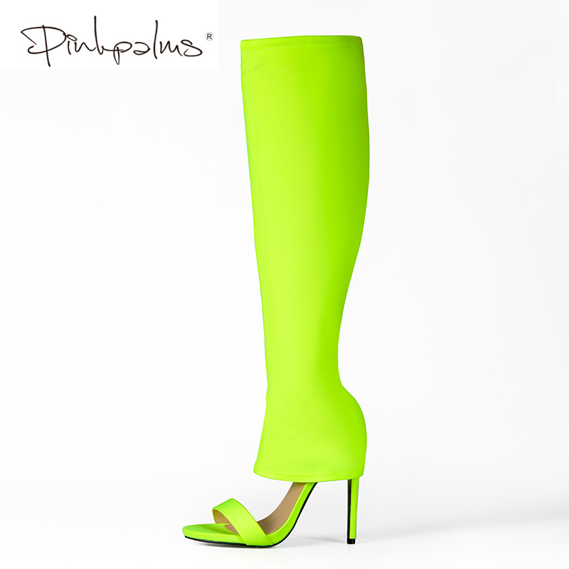 Pink Palms Autumn Lycra Shoes Women Over The Knee Sexy High Heels Wedge Boots Stretch Fabric Sock Boots Students Boots pink palms shoes women over the knee boots sexy high heels women stretch fabric sock boots thigh high sandals ladies shoes