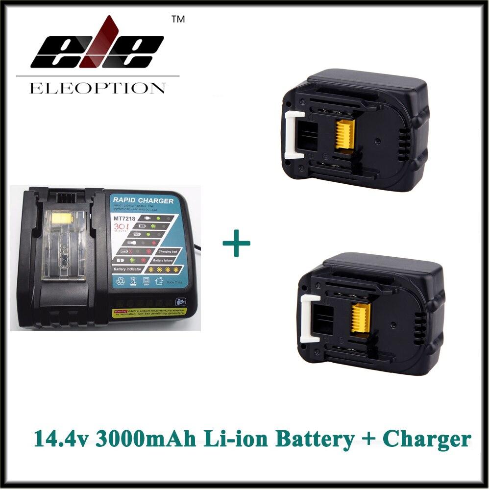 2 PCS Eleoption 3000mAh 3.0Ah 14.4V Li-ion Rechargeable battery for Makita BL1415 BL1430 BL1440 + Charger2 PCS Eleoption 3000mAh 3.0Ah 14.4V Li-ion Rechargeable battery for Makita BL1415 BL1430 BL1440 + Charger