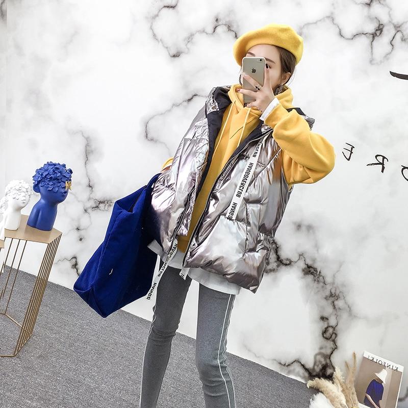 Kadın Giyim'ten Jileler ve Yelekler'de Sonbahar Kadın Yelekler Kız Parlak Yelek Kukuletalı Ince Yelek Kız Parkas Moda Yelek'da  Grup 3