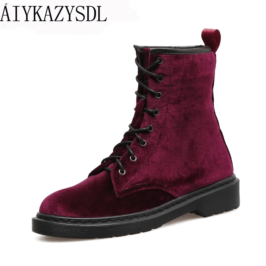 AIYKAZYSDL Women Flock Velvet Ankle Boots Fashion Platform Flat Shoes Woman Block Heel High Top Booties Short Riding Biker Boots