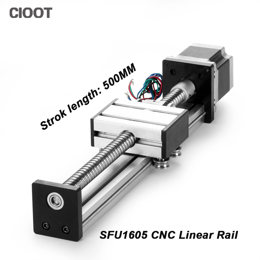 2017 Direct Selling Rushed Linear Rail sfu1605 Linear Guide Rail 16 Cnc 500mm Stage + 23 Nema Stepper Motor toothed belt drive rail guideway manufacturer motorized stepper motor positioning linear stage