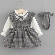 2018 Autumn Newborn Infant Baby Children Plaid Clothes Girls Princess Ruffles Dress Kids Party Birthday Dresses For Girl JW6770
