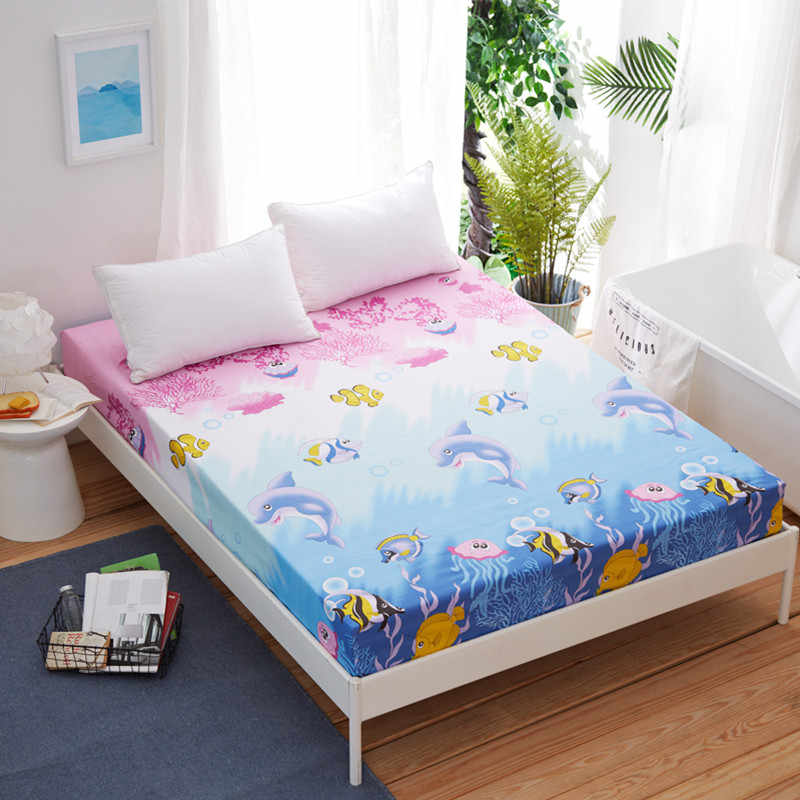 Bonenjoy Fitted Sheet Single King Size Dolphin Bed Sheet with Elastic Queen Size Bed Sheets Set  Plain Bed Sheet Mattress Covers