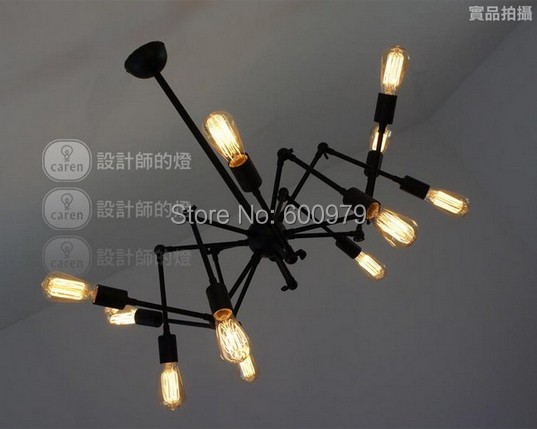 Free Shipping 12 Light Black Wrought Iron Chandelier Vintage Bulb Spider  Pendant Lamp Loft American Style