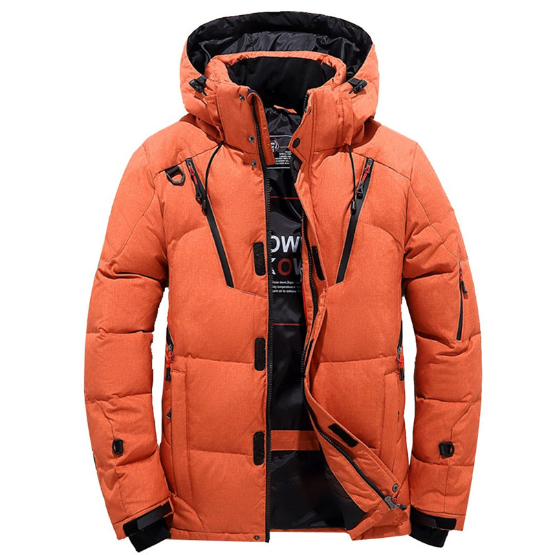 Camping Hiking Down Jacket Man Warm Hooded Zipper Coat Winter Outwear Jacket Top Blouse Thick Thick White duck Down #2O15#F
